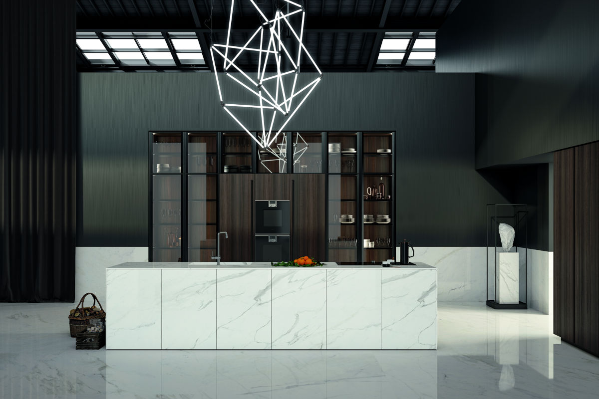 Cucina Moderna Bianca con Illuminazione a LED - Ingrossso Cucine Moderne