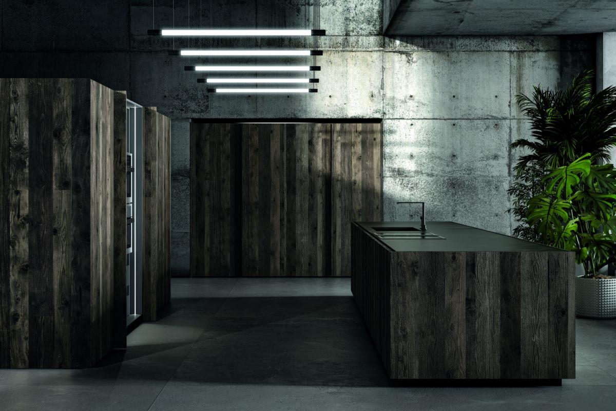 Cucina Moderna con Isola color Nero e Legno - ICM Ingrossso Cucine Moderne