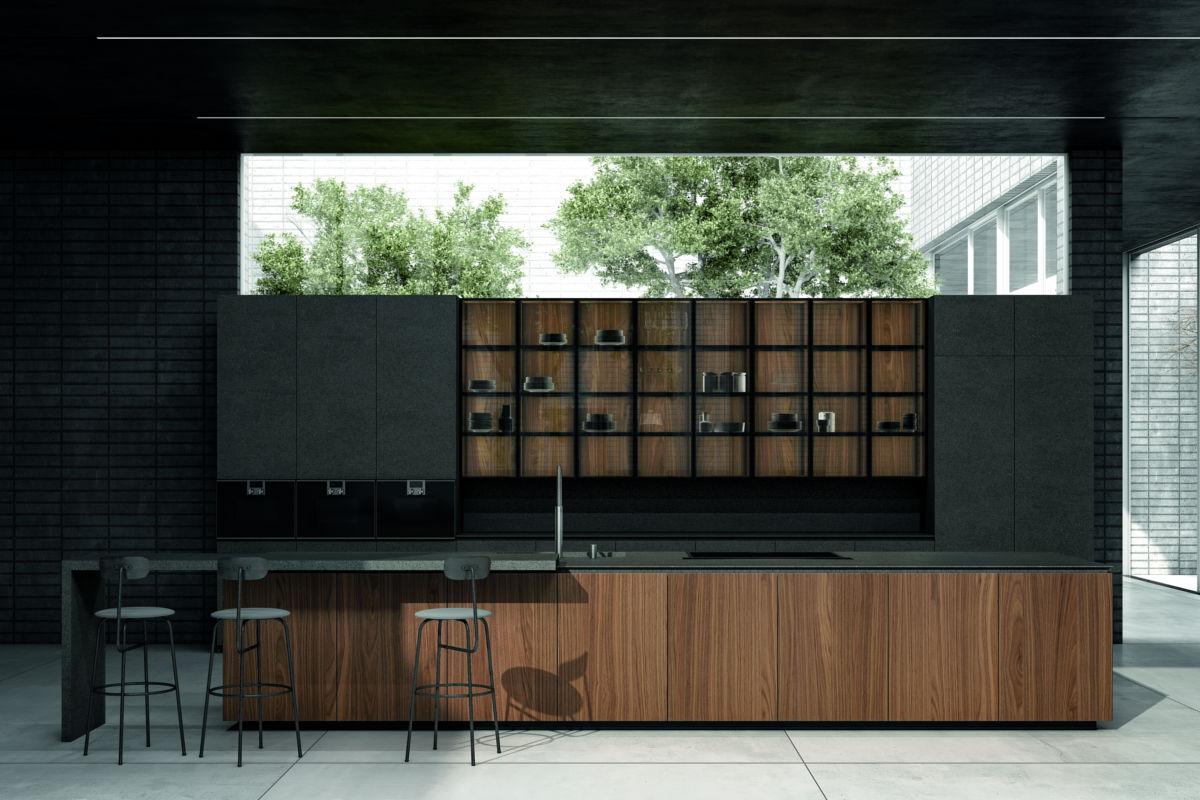 Cucina Moderna di Colore Nero con Finiture in Legno - ICM Ingrossso Cucine Moderne