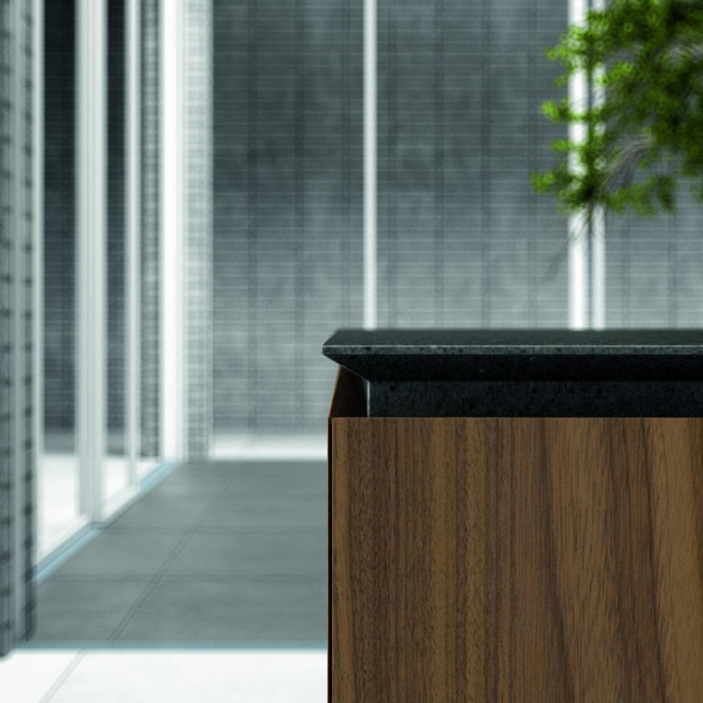 Piano Cucina nero con rivestimento in legno - ICM Ingrosso Cucine Moderne